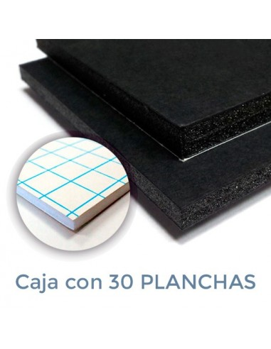 CARTÓN PLUMA NEGRO 10mm. ADHESIVO 21 x 29.7 (Plancha)