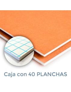 CARTÓN PLUMA DUOMO BLANCA/KRAFT 3mm. 70 X 100 ADHESIVO (Plancha)