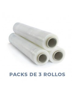 FILM EXTENSIBLE 50cmX150mX35micras. (PACK 3 ROLLOS)