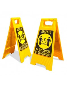 Panel AMARILLO distancia seguridad - DOBLE CARA ( Packs 2 uds. )