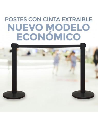 POSTES CON CINTA EXTRAIBLE PARA CONTROL FILAS. CATENARIAS (Pack 2 postes)