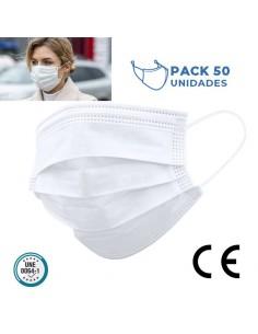MASCARILLA HIGIENICA TRICAPA CORONA VIRUS desechable ( PACK de 50 )